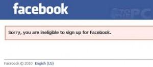 Facebook ikke gammel nok